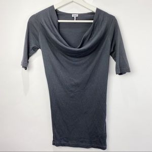 Splendid cowl neck grey short sleeve top